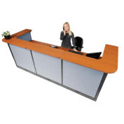 "124""W x 44""D x 46""H U-Shaped Electric Reception Station, Cherry Counter/Blue Panel"