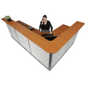 """116""""W x 80""""D x 46""""H L-Shaped Electric Reception Station, Cherry Counter/Gray Panel"""