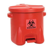 EAGLE Polyethylene Waste Can - 6-Gallon Capacity - Red/Black Biohazard Label