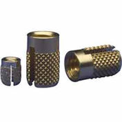 EZ Lok 240-332-BR, 10-32 Flush Press Insert, Brass - Pkg Qty 25