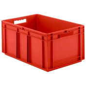 """SSI Schaefer Euro-Fix Solid Container, 24"""" x 16"""" x 13"""", Red - Pkg Qty 4"""