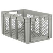 """SSI Schaefer Euro-Fix Solid Base/Mesh Sides Container, 24"""" x 16"""" x 13"""", Gray - Pkg Qty 4"""