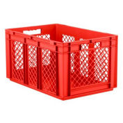 """SSI Schaefer EF6321, Euro-Fix Solid Base/Mesh Sides Container, 24"""" x 16"""" x 13"""", Red - Pkg Qty 4"""