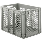 """SSI Schaefer EF6421, Euro-Fix Solid Base/Mesh Sides Container, 24"""" x 16"""" x 17"""", Gray - Pkg Qty 2"""