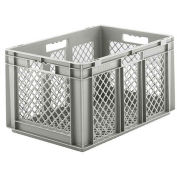 "SSI Schaefer Euro-Fix Mesh Container, 24"" x 16"" x 13"", Gray - Pkg Qty 4"