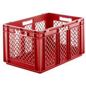 "SSI Schaefer Euro-Fix Mesh Container, 24"" x 16"" x 13"", Red - Pkg Qty 4"