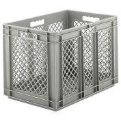 "SSI Schaefer EF6423, Euro-Fix Mesh Container, 24"" x 16"" x 1"", Gray - Pkg Qty 2"