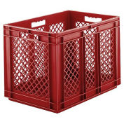 "SSI Schaefer Euro-Fix Mesh Container, Model No. EF6423, 24"" x 16"" x 1"", Red - Pkg Qty 2"