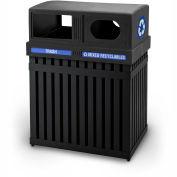 Commercial Zone ArchTec Parkview Double 25 Gallon Trash Container, Black