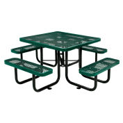 "46"" Expanded Metal Square Picnic Table, Green"
