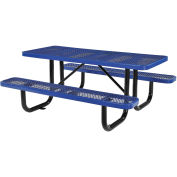 "72"" Rectangular Picnic Table, Surface Mount, Blue"