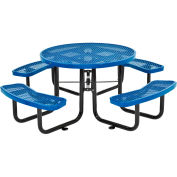 """46"""" Expanded Metal Round Picnic Table, Blue"""