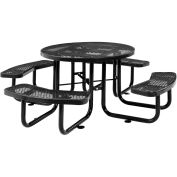 "46"" Expanded Metal Round Picnic Table, Black"