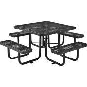 "46"" Expanded Metal Square Picnic Table, Black"
