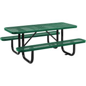 "72"" Expanded Metal Rectangular Picnic Table, Green"