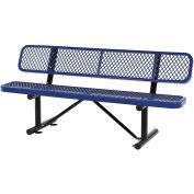 "72""L Expanded Metal Mesh Bench w/Back Rest, Blue"
