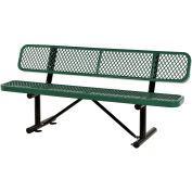 """72""""L Expanded Metal Mesh Bench w/Back Rest, Green"""