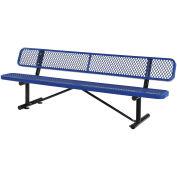 "96""L Expanded Metal Mesh Bench w/Back Rest, Blue"