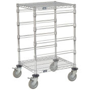 "4 Level Chrome Wire Cart, 21""L x 24""W x 45""H"
