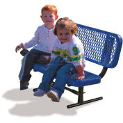 Preschool Bench with Back, 3'L, Expanded Metal, Blue