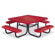 "46"" Square Children's Picnic Table, Portable, Expanded Metal, Red"