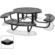 """46"""" Round Children's Picnic Table, Portable, Expanded Metal, Black"""