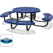 "46"" Round Children's Picnic Table, Portable, Expanded Metal, Blue"