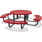 """46"""" Round Children's Picnic Table, Portable, Expanded Metal, Red"""