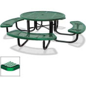"""46"""" Round Children's Picnic Table, Portable, Expanded Metal, Green"""
