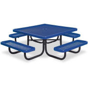 """46"""" Square Children's Picnic Table, Portable, Perforated Metal, Blue"""