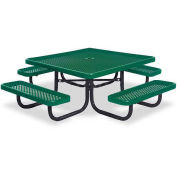 """46"""" Square Children's Picnic Table, Portable, Perforated Metal, Green"""