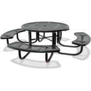 "46"" Round Children's Picnic Table, Portable, Perforated Metal, Black"