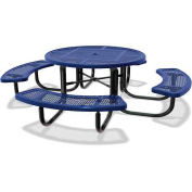 "46"" Round Children's Picnic Table, Portable, Perforated Metal, Blue"