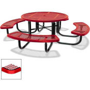 "46"" Round Children's Picnic Table, Portable, Perforated Metal, Red"