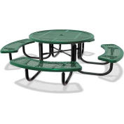 "46"" Round Children's Picnic Table, Portable, Perforated Metal, Green"