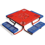 "46"" Children's Picnic Table, Perforated Metal, Red Table Top w/ Blue Seats"