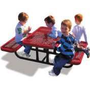 4' Rectangular Children's Picnic Table, Expanded Metal, Red