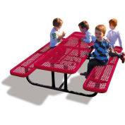 6' Rectangular Children's Picnic Table, Expanded Metal, Red