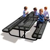 8' Rectangular Children's Picnic Table, Expanded Metal, Black