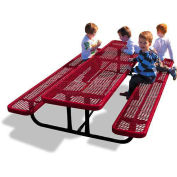 8' Rectangular Children's Picnic Table, Expanded Metal, Red
