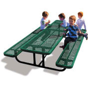 8' Rectangular Children's Picnic Table, Expanded Metal, Green