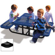4' Rectangular Children's Picnic Table, Perforated Metal, Black
