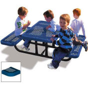 4' Rectangular Children's Picnic Table, Perforated Metal, Blue
