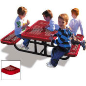 4' Rectangular Children's Picnic Table, Perforated Metal, Red