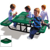 4' Rectangular Children's Picnic Table, Perforated Metal, Green