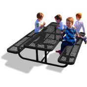 6' Rectangular Children's Picnic Table, Perforated Metal, Black