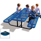 6' Rectangular Children's Picnic Table, Perforated Metal, Blue