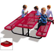 6' Rectangular Children's Picnic Table, Perforated Metal, Red