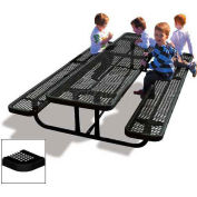 8' Rectangular Children's Picnic Table, Perforated Metal, Black