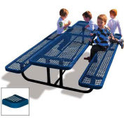 8' Rectangular Children's Picnic Table, Perforated Metal, Blue